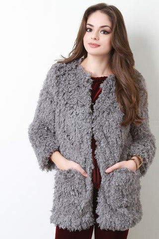 Boxy Soft Shaggy Jacket - Beauty & Bronze Clothing and Accessories