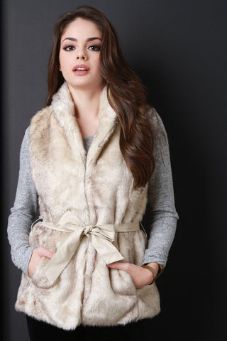 Belted Soft Faux Fur Vest - Beauty & Bronze Clothing and Accessories