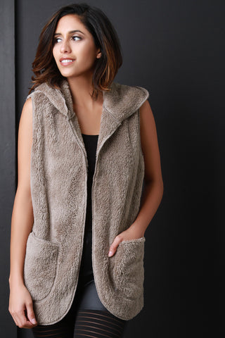 Faux Shearling Hoodie Vest - Beauty & Bronze Clothing and Accessories