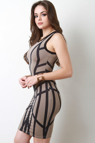 Geo Sculpture Bodycon Dress - Beauty & Bronze Clothing and Accessories