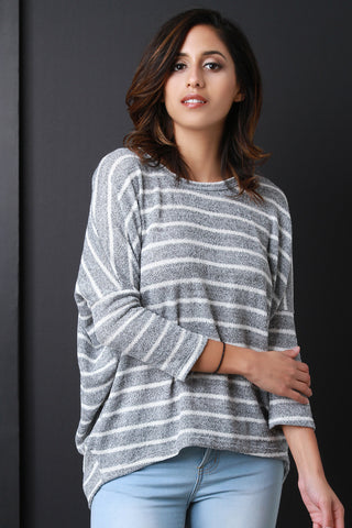 Buttoned Back Stripe Knitted Sweater - Beauty & Bronze Clothing and Accessories