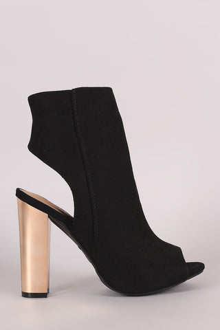 Bamboo Suede Chunky Metallic Heeled Ankle Boots - Beauty & Bronze Clothing and Accessories