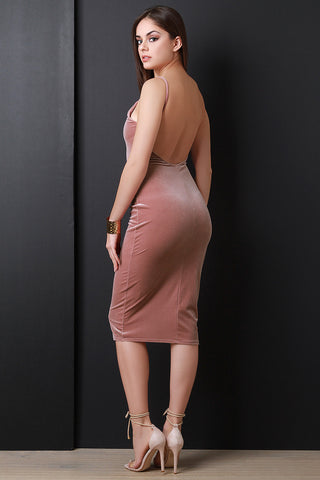 Backless Velvet Midi Dress - Beauty & Bronze Clothing and Accessories
