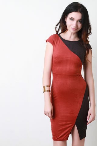 Color Panel Faux Suede Bodycon Dress - Beauty & Bronze Clothing and Accessories