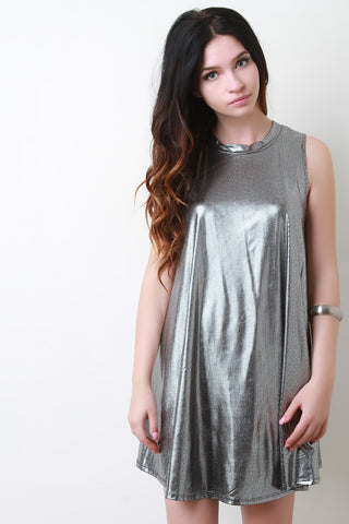 Metallic Trapeze Mini Dress - Beauty & Bronze Clothing and Accessories