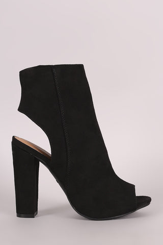 Bamboo Suede Peep Toe Chunky Heeled Booties - Beauty & Bronze Clothing and Accessories