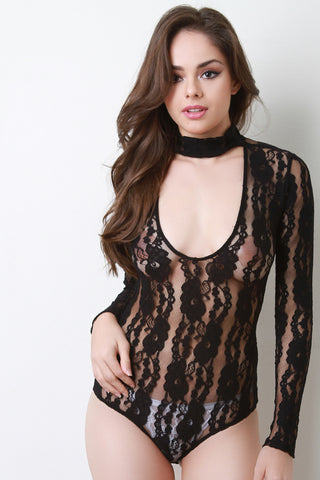 Floral Lace Mock Choker Bodysuit - Beauty & Bronze Clothing and Accessories