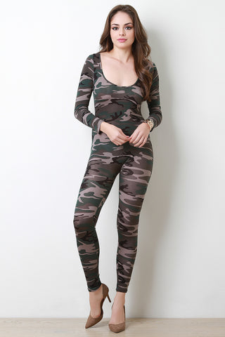 Camouflage Printed Long Sleeve Jumpsuit - Beauty & Bronze Clothing and Accessories