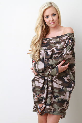 Camouflage Off The Shoulder Shift Dress - Beauty & Bronze Clothing and Accessories