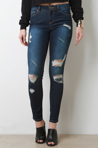 Dark Wash Distressed Skinny Jeans - Beauty & Bronze Clothing and Accessories