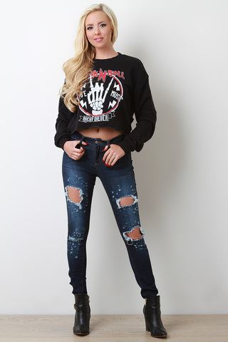 Dark Wash Distressed Accent Jeans - Beauty & Bronze Clothing and Accessories