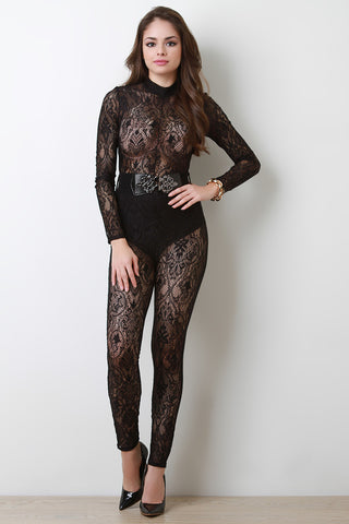 Belted Long Sleeve Lace Jumpsuit - Beauty & Bronze Clothing and Accessories