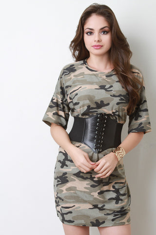 Corset Belted Camouflage T-Shirt Dress - Beauty & Bronze Clothing and Accessories