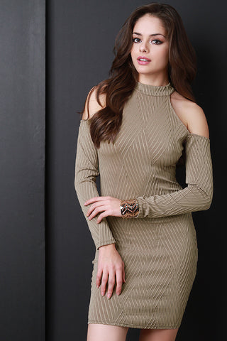Cold Shoulders Basket Weave Textured Dress - Beauty & Bronze Clothing and Accessories