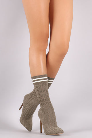 Liliana Stretched Sweater Knit Stiletto Mid-Calf Sock Boots - Beauty & Bronze Clothing and Accessories