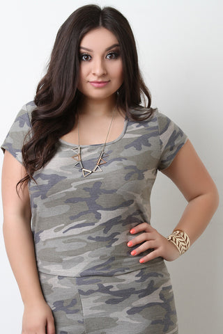 Camouflage Terry Knit Crop Top - Beauty & Bronze Clothing and Accessories