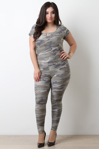 Camouflage Terry Knit High Waist Leggings - Beauty & Bronze Clothing and Accessories