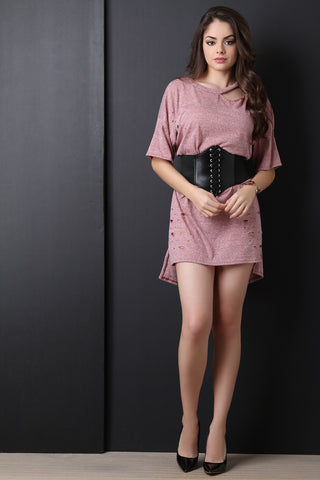 Corset Belted Distressed T-Shirt Dress - Beauty & Bronze Clothing and Accessories