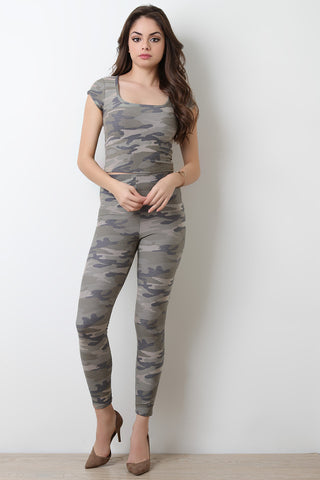 Camouflage High Waist Leggings - Beauty & Bronze Clothing and Accessories