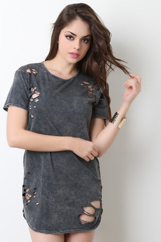 Casual Distressed Mineral Wash Tee Dress - Beauty & Bronze Clothing and Accessories