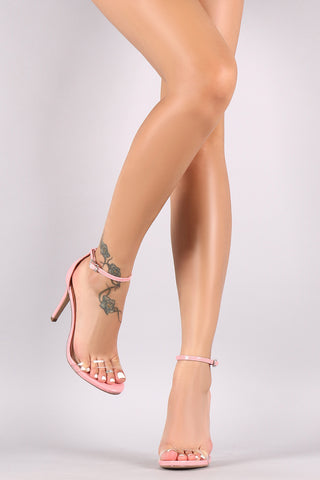 Delicious Lucite Ankle Strap Open Toe Stiletto Heel - Beauty & Bronze Clothing and Accessories