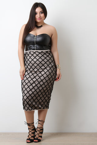 High Waisted Lined Grid Midi Skirt - Beauty & Bronze Clothing and Accessories