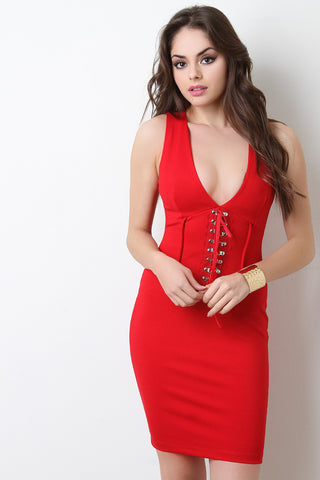 Corset Waist Bodycon Dress - Beauty & Bronze Clothing and Accessories