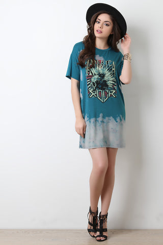 America Rock Graphic Print Bleach T-Shirt Dress - Beauty & Bronze Clothing and Accessories
