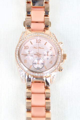 Chronograph Sparkly Rhinestone Watch - Beauty & Bronze Clothing and Accessories