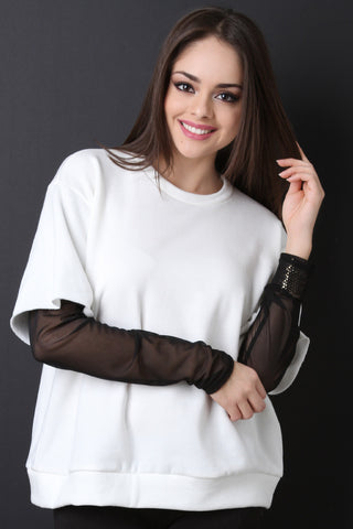 Boxy Terry Knit Semi-Sheer Sleeve Top - Beauty & Bronze Clothing and Accessories