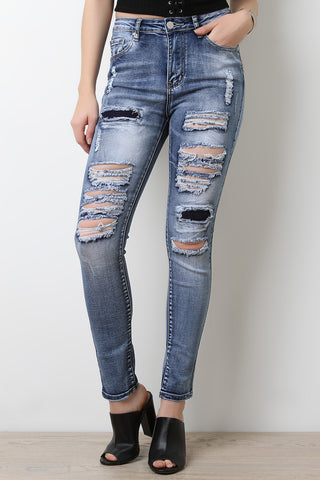 Distressed Faded Wash Denim Jeans - Beauty & Bronze Clothing and Accessories