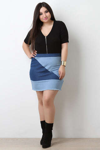 Geo Block Denim Mini Skirt - Beauty & Bronze Clothing and Accessories