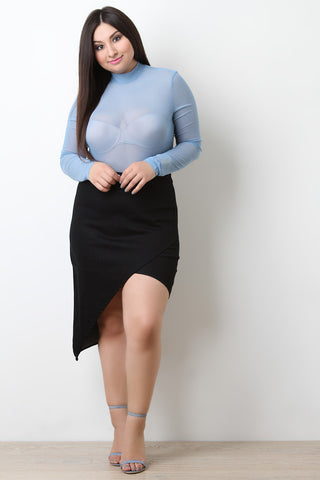 Asymmetrical Envelope Denim Skirt - Beauty & Bronze Clothing and Accessories