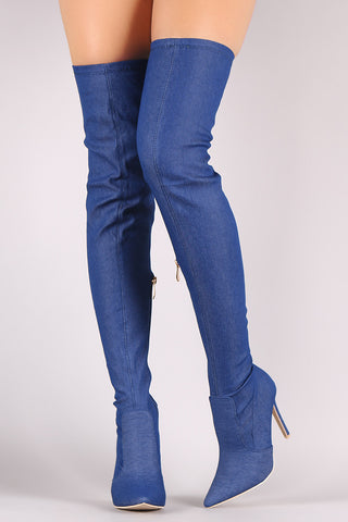 Denim Pointy Toe Stiletto Over-The-Knee Boots - Beauty & Bronze Clothing and Accessories