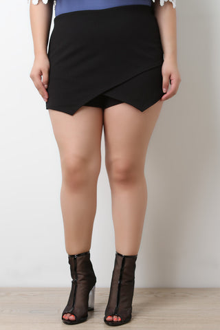 Asymmetrical Overlap High Waisted Shorts - Beauty & Bronze Clothing and Accessories