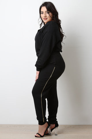 Jersey Side Zipper Trim Jogger Pants - Beauty & Bronze Clothing and Accessories