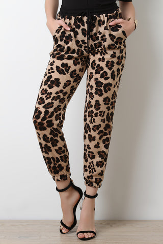 Leopard Print Self Tie Jogger Pants - Beauty & Bronze Clothing and Accessories