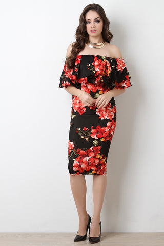 Off The Shoulder Floral Print Midi Dress - Beauty & Bronze Clothing and Accessories