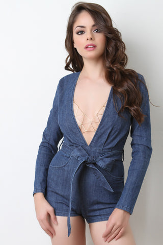 Plunging V-Neck Long Sleeve Denim Romper - Beauty & Bronze Clothing and Accessories