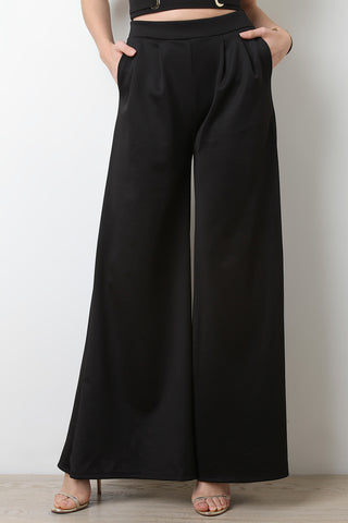 Scuba Flare Wide Leg High Waisted Pants - Beauty & Bronze Clothing and Accessories