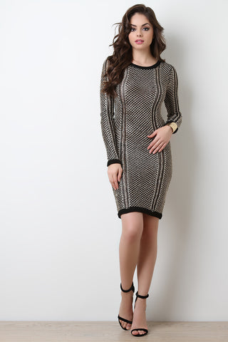 Metallic Knit Long Sleeve Bodycon Dress - Beauty & Bronze Clothing and Accessories