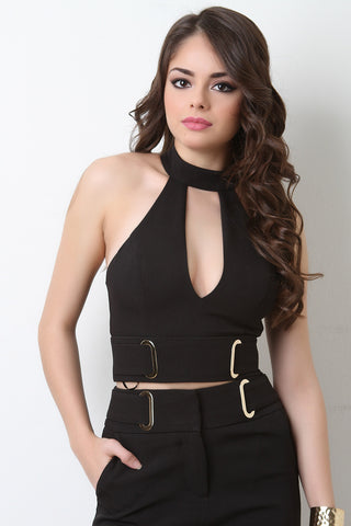 Mock Neck Keyhole Sleeveless Crop Top - Beauty & Bronze Clothing and Accessories