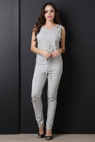 Casual French Terry Distressed Jumpsuit - Beauty & Bronze Clothing and Accessories