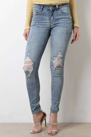 Form Fitting Distressed Knees Skinny Jeans - Beauty & Bronze Clothing and Accessories