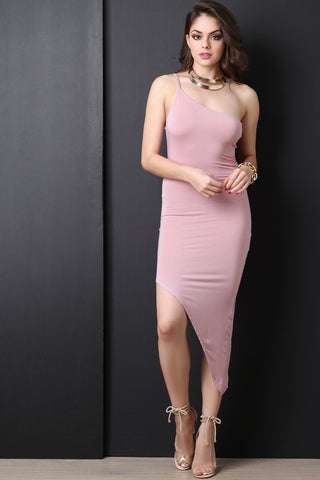 Asymmetrical One Shoulder Bodycon Dress - Beauty & Bronze Clothing and Accessories