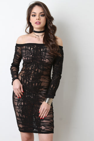 Abstract Burn Out Mesh Bardot Dress - Beauty & Bronze Clothing and Accessories