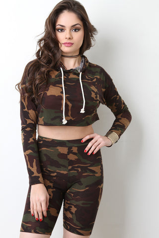 Camouflage Crop Hoodie Sweater - Beauty & Bronze Clothing and Accessories