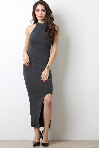 Metallic Knit Cutaway Maxi Dress - Beauty & Bronze Clothing and Accessories