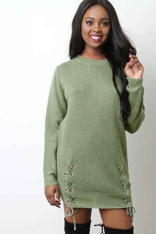 Side Lace Up Sweater Dress - Beauty & Bronze Clothing and Accessories
