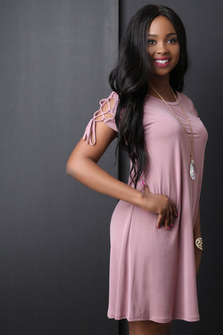 Round Neck Lace Up Sleeve Shift Dress - Beauty & Bronze Clothing and Accessories